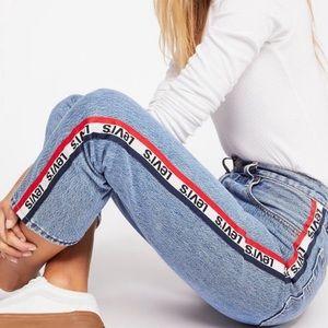 NWT Levi's 501 Straight Leg Logo Stripe Jeans 27